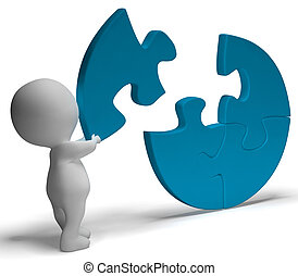Completing Jigsaw Shows Solution Completing Or Achievement -...