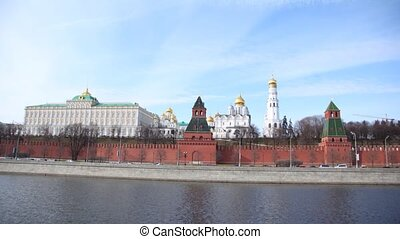 Kremlin churches stand near Kremlin wall, time lapse