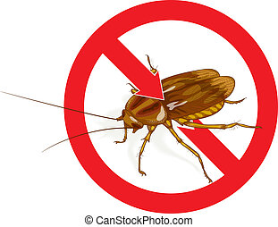 Stop Cockroach sign Vector illustration