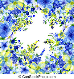 watercolor dark blue and yellow flowers on a white...