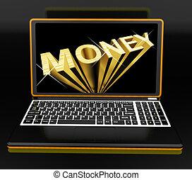Money On Laptop Showing Earnings