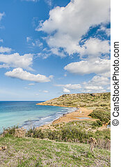 Ramla Bay, on the northern side of Gozo, Malta - Ramla Bay,...