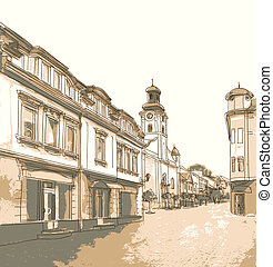 Street in the old town Vector illustration