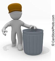 Garbage man with a garbage bin