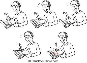 Young man writing something in notebook.