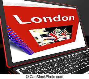 London Book On Laptop Shows Britain Guide Or City Tour