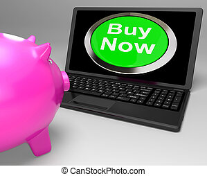 Buy Now Button On Laptop Showing Commerce