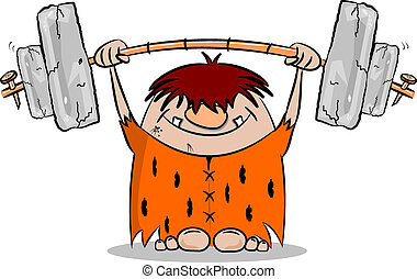 Cartoon caveman weight lifting - Cartoon caveman keeping fit...