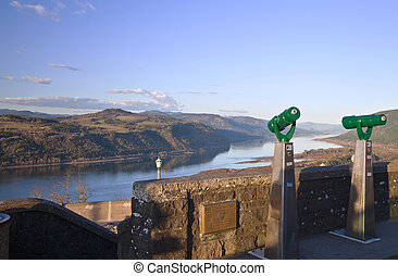 The view Columbia River Gorge Oregon.