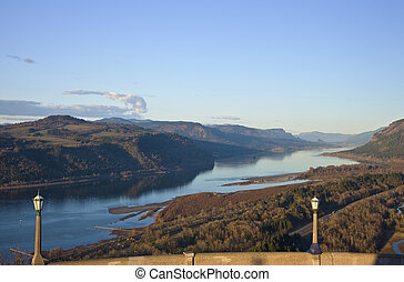 The view Columbia River Gorge Oregon.