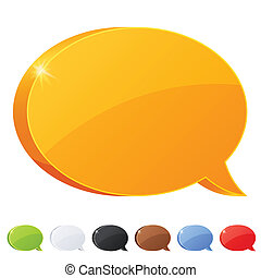 Set of 7 speech bubble symbol in different colors Vector...
