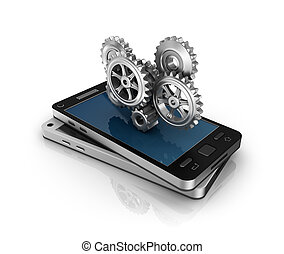 Mobile phone and gears. Application development concept.