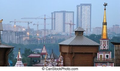 Roofs of Old Russian buildings face new houses, time lapse