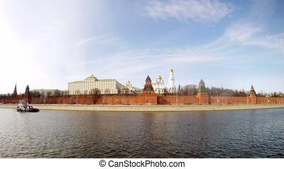 Motorship swim near of Kremlin on Moscow river, time lapse