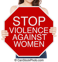 Stop Violence Against Women - A woman holding a conceptual...