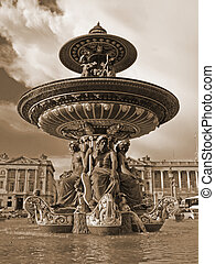 Paris - The fountain in Concorde Square - Image of the...