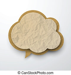 Wrinkled old paper cloud - Vector illustration of old...