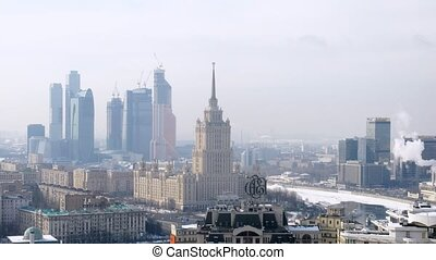 Ukraine hotel stands before business center Moscow city,...