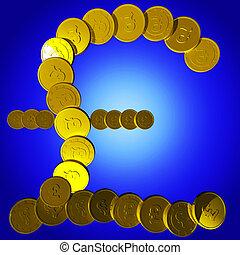 Coins Pound Symbol Shows British Deposit