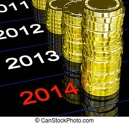 Coins On 2014 Showing Upcoming Finances Or Economy