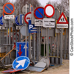 Storage of traffic signs in the Netherlands dutch text