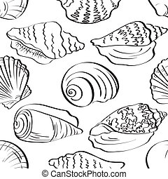 Seamless background, outline seashells - Seamless...