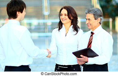 Business men hand shake - Business men hand shake in the...
