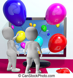 Balloons Coming From Screen Show Online Celebrations Greeting