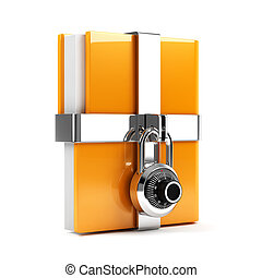 Folder with combination lock - 3d illustration of folder...