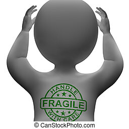Fragile Stamp On Man Showing Breakable Or Delicate