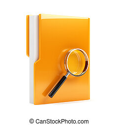 Folder with magnifying glass