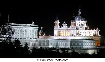 Almudena cathedral is reflected in water at night, time...