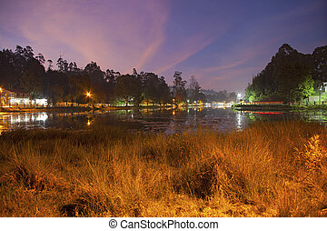Twilight in Kodaikanal, beautiful lake, TamilNadu, India