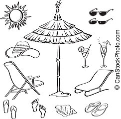 Summer objects, outline - Set objects represent summer,...