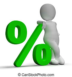 Percent Sign With 3d Man Showing Percentage Or Investment -...