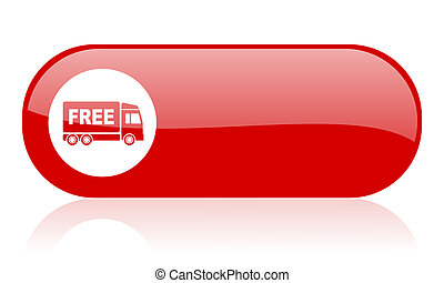 free delivery red web glossy icon