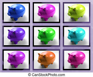 Piggy Banks On Monitors Showing Savings And Financial...