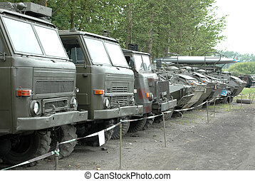 Military vehicles - Old military vehicles in museum