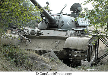 Military Tank t-34-  military training ground