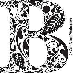 Floral B - Floral initial capital letter B