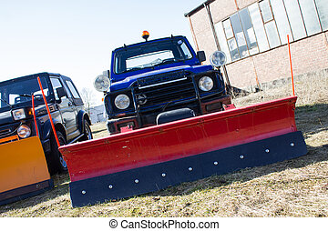all-terrain vehicle with snow removing shovel