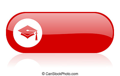 graduation red web glossy icon
