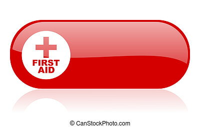 first aid red web glossy icon