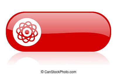 átomo, vermelho, teia, lustroso, ícone