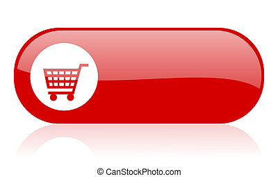 shopping, carreta, vermelho, teia, lustroso, ícone
