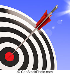 Bulls eye Target Shows Performance Goal Achieved - Bulls eye...