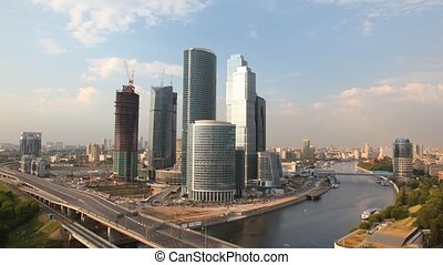 Business center Moscow City stands against city landscape...