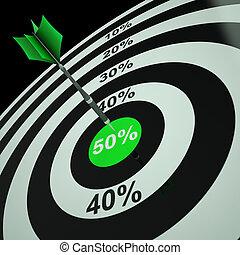 50Percent On Dartboard Shows Bonus Prices