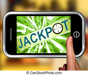 Jackpot On Smartphone Showing Target Gambling