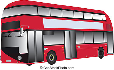 Red Bus - A Modern Red Double Deck Hybrid Bus isolated on...